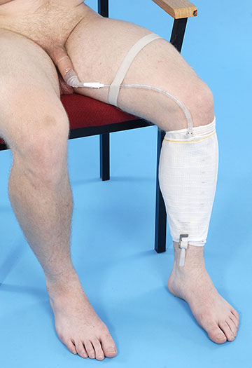 leg bag held in place by net sleeve